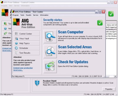 AVG Anti-virus Free Edition 7.5.557a14 screenshot
