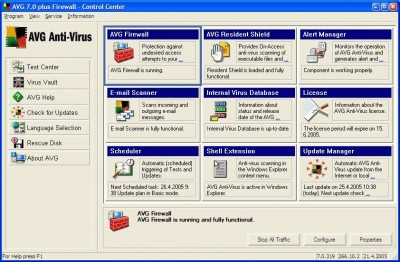 AVG Antivirus Plus Firewall 7.5.516a1225 screenshot