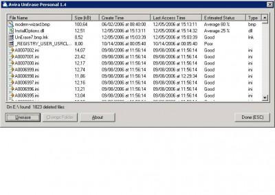 Avira UnErase Personal 1.4 screenshot