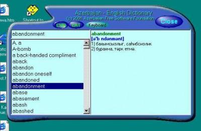 Azerbaijan-English-Azerbaijan Dictionary screenshot