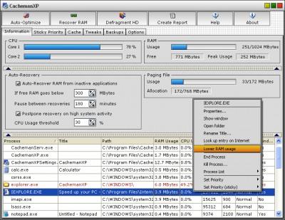 CachemanXP 2.20 screenshot