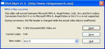DivX2Mp4 1.7 screenshot