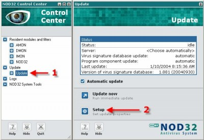 Eset NOD32 2.7 RU screenshot