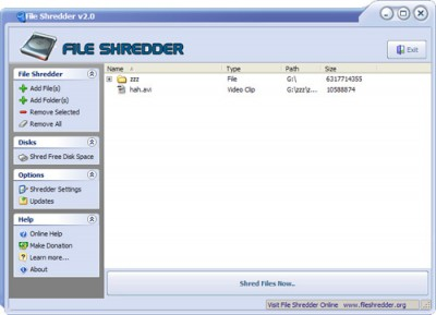 File Shredder 2.5 screenshot