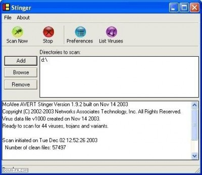 McAfee AVERT Stinger 3.8.0 screenshot