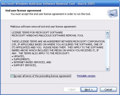 Microsoft Malicious Software Removal Tool 1.36 screenshot