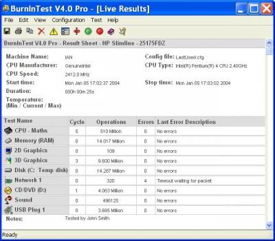 PassMark BurnInTest Pro 5.3 Build 1012 screenshot