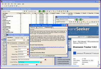 Shareware Tracker 1.8.1.10 screenshot