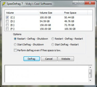 SpeeDefrag 7.0 screenshot