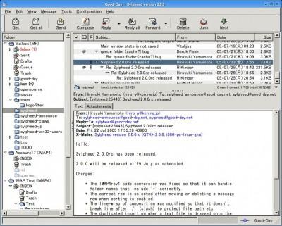 Sylpheed 2.4.8 screenshot